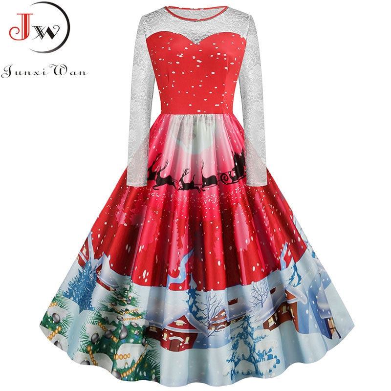 2020 mujeres invierno de manga larga de encaje de impresión elegante vestido de Navidad de talla grande S ~ 5XL Vintage gran Swing A-line vestido de fiesta túnica de mujer