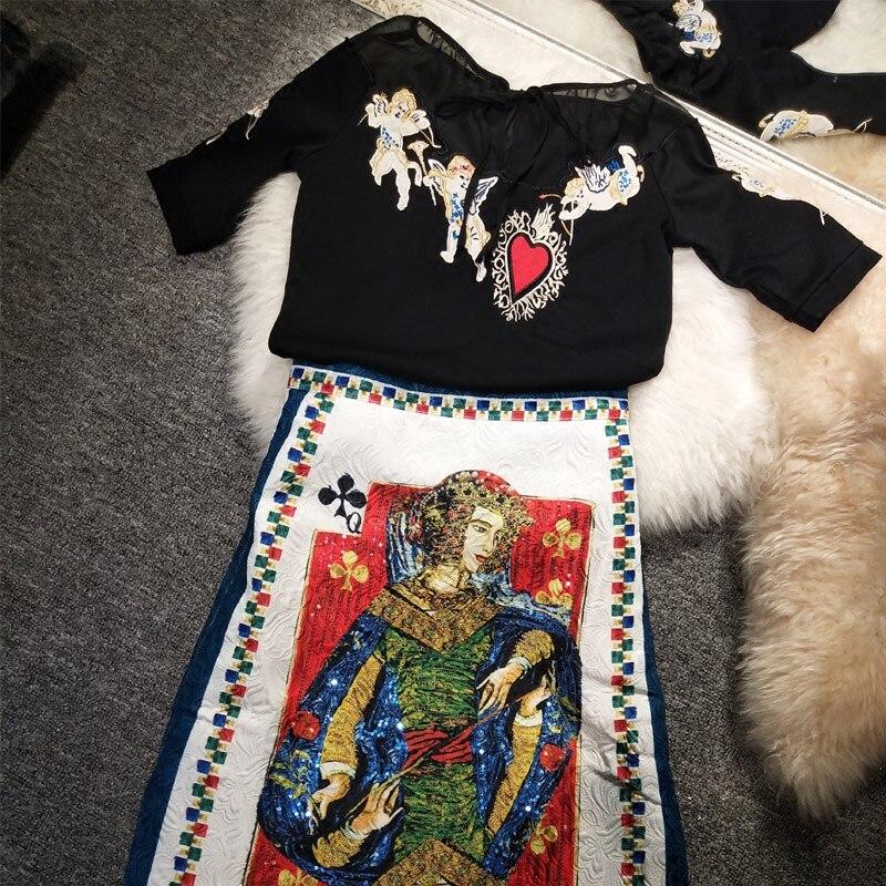 Nova primavera moda batong poker cartão bordado saia anjo bordado t camisa conjunto feminino