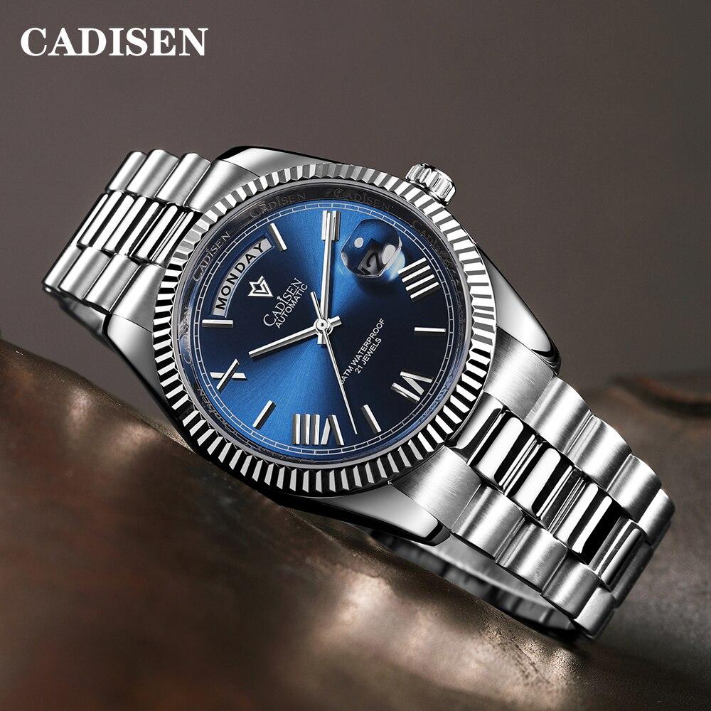 Automáticos dos Homens de Cadisen Novos Relógios Mecânicos Mayota 8285 Negócios Esportes Safira Reloj Hombre Aço Inoxidável 2022