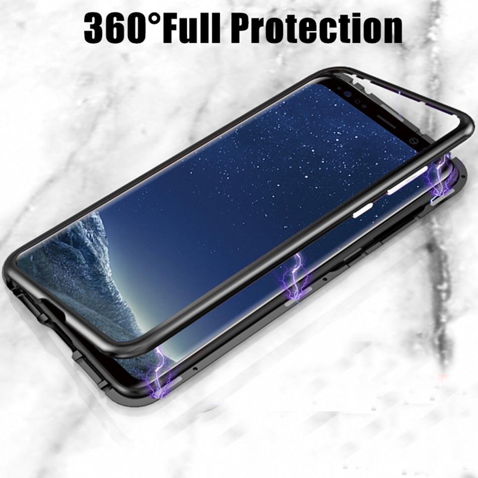 Funda de adsorción magnética para Samsung Galaxy A91 A81 A71 A51, cubierta trasera de Metal de vidrio templado para Samsung S20 Ultra S10 Lite Plus