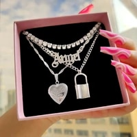 shine crystal tennis chain choker necklaces for women multilayer angel letter heart lock charm twisted chain necklaces jewelry