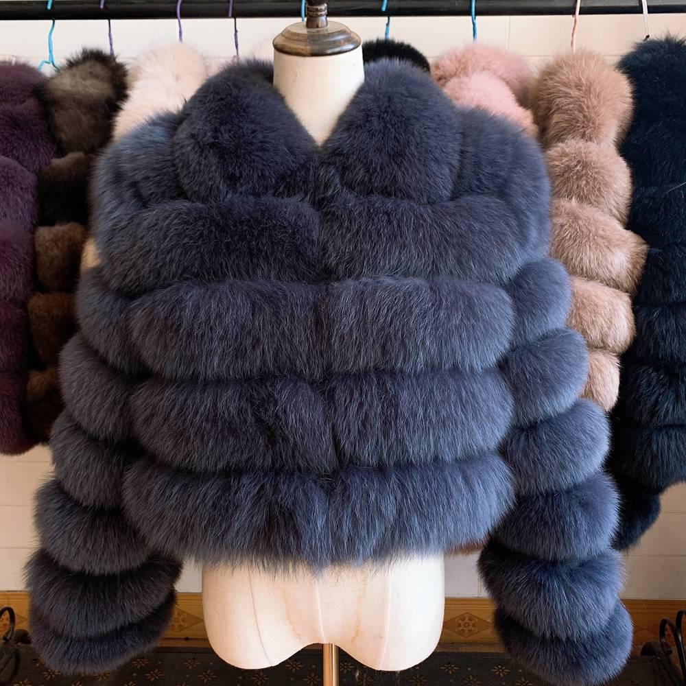 2020 New Arrival Woman's Real Fox Fur Coat Short Style Slim Fit Zipper Fashion Real Fur Jacke