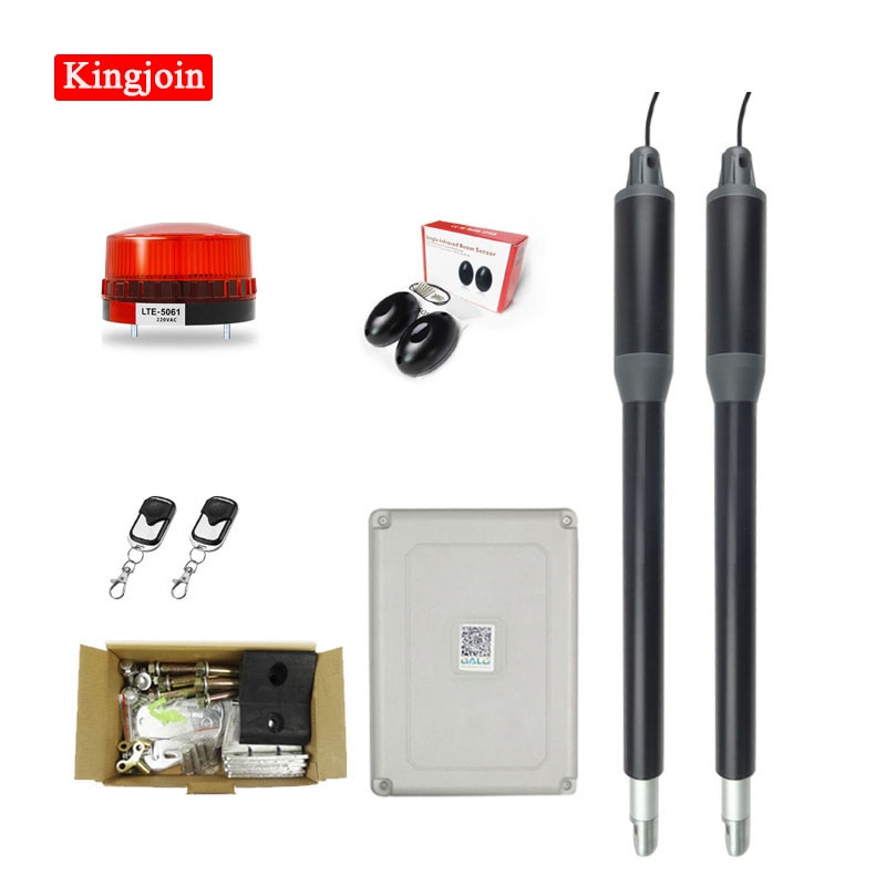 KINGJOIN swing door gate opener Electric double arm opener Operator linear actuator with remote control warning light optional automatic swing door gate opener electric double arm opener operator linear actuator with remote control warning light optional