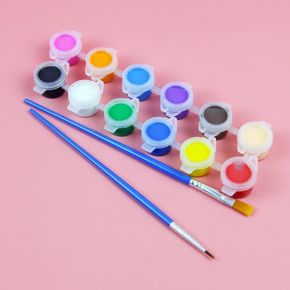 Твердые 12 акварельные краски керамическая керамика Краски кисть поделки своими руками пигмент набор гипс кукла марионетка Краски ed Краски ...