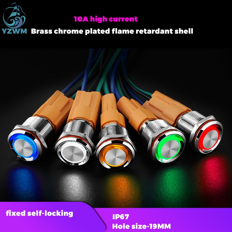 YZWM 19mm Self Locking Metall Taste Schalter Netzteil Start Stop mit Licht Wasserdicht 10A Hohe Strom 12v24v220v