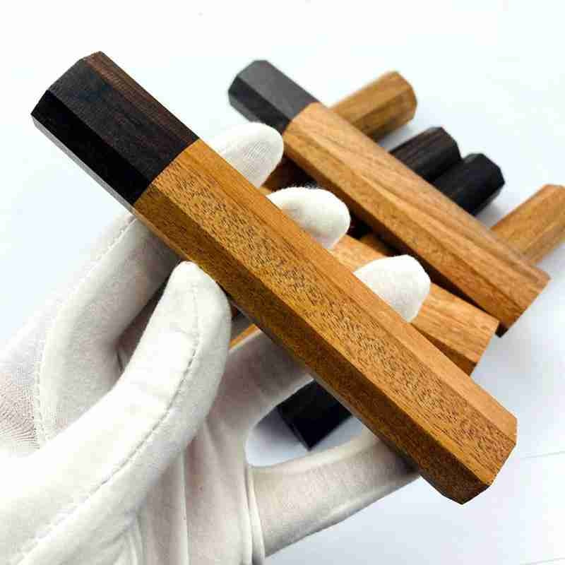 2PCS Japanese Chef Knife Handle DIY Kitchen Knives Friendly natural African Wood Knife Making Details Accessories Octagonal