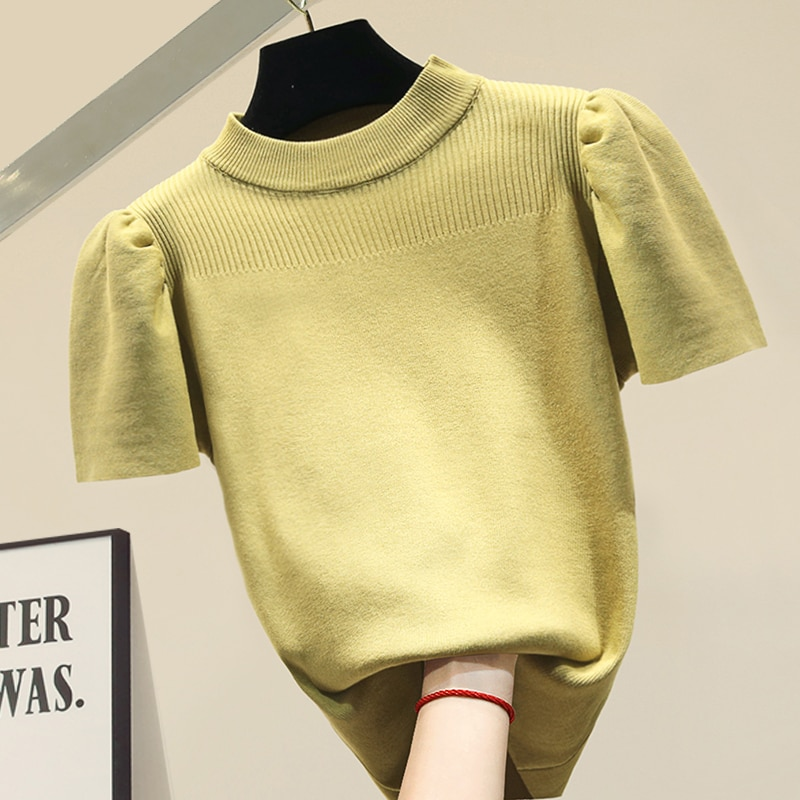 2021Fashion O collar Solid color sweater bottoming shirt women's Puff sleeve thin pullover  summer Ice silk Short sleeve