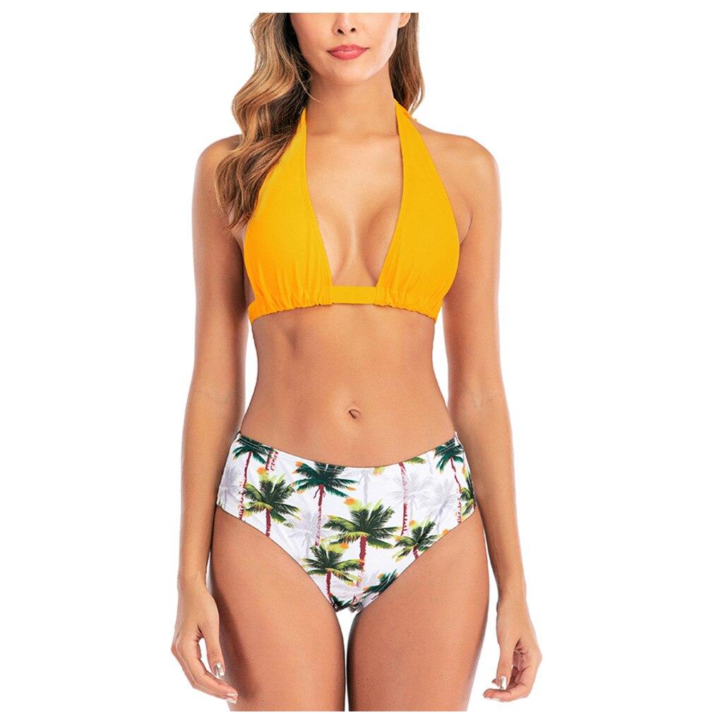 Sagace biquinis mulher impressão de árvore altura cintura bandagem conjunto de biquíni push-up banho beachwear esporte maiô feminino biquini