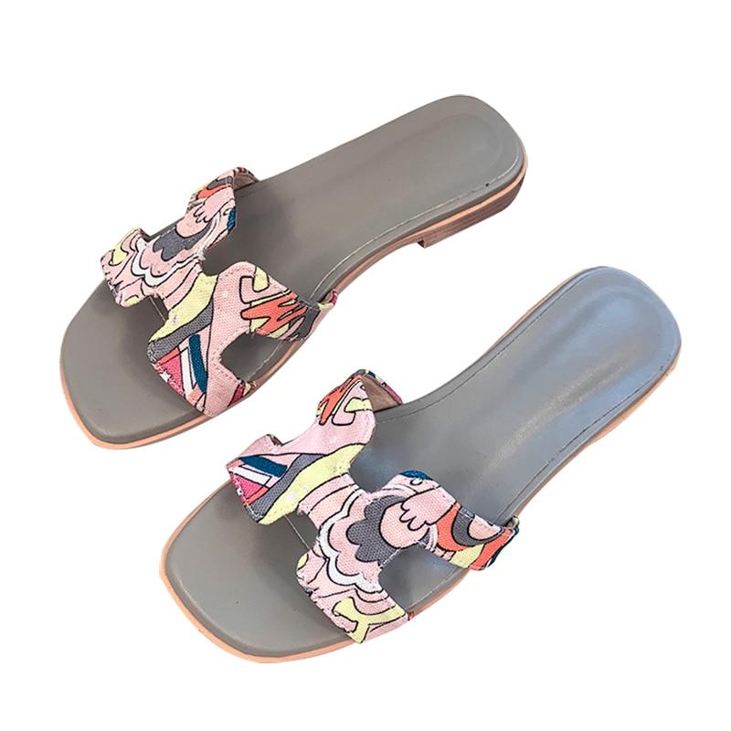 Kmeioo, zapatillas planas de piel auténtica de marca de moda, zapatos de mujer de tacón bajo de alta calidad, cómodas zapatillas informales de verano para mujer