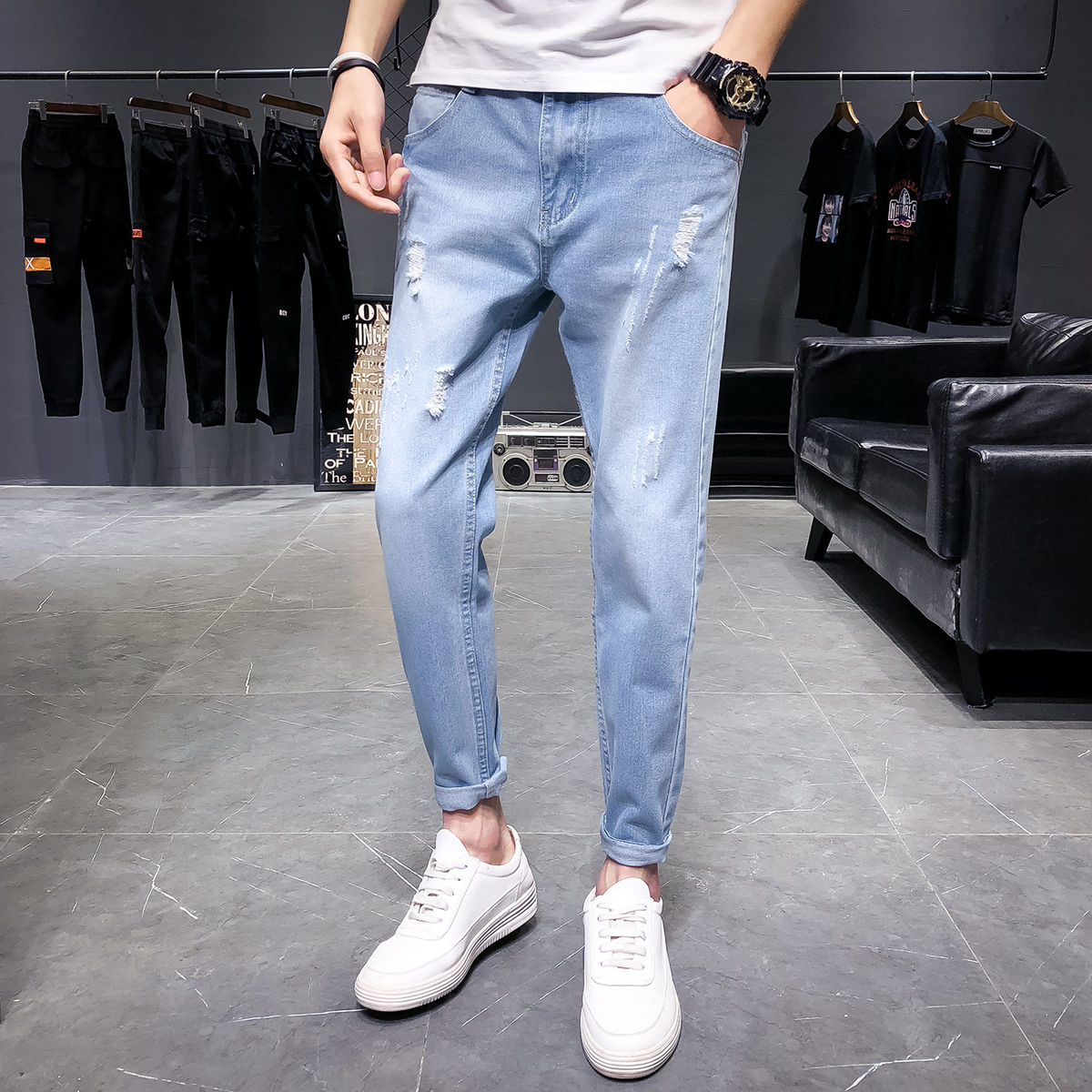 2021 Spring New Men's Casual Jeans Korean Straight Solid Color Slim Ripped Pants