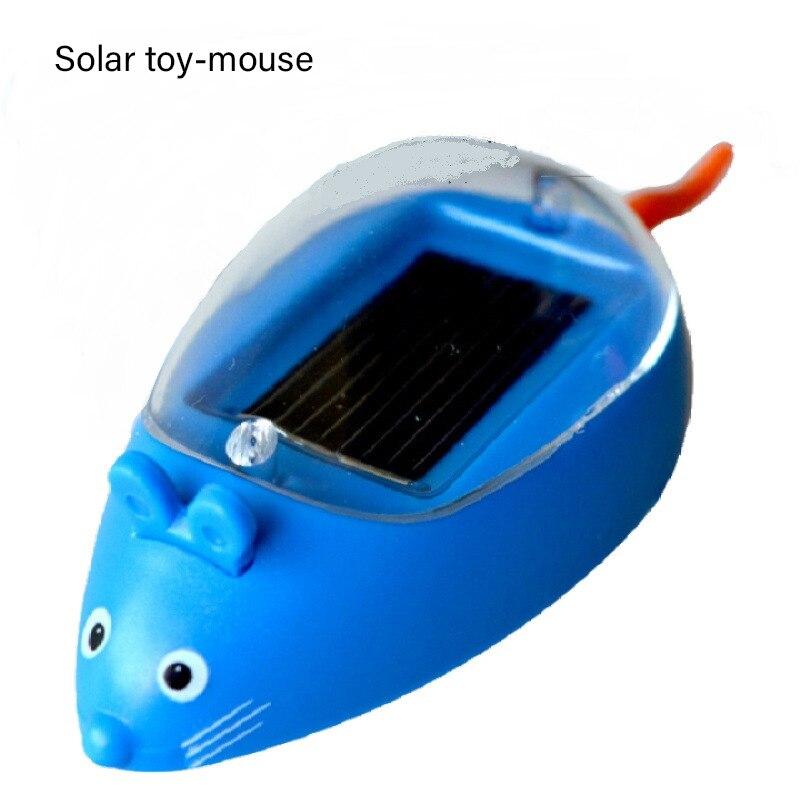 Игрушечная Автомобильная мышь на солнечной батарее, миниатюрная модель мыши с зарядкой от солнечной батареи, забавный подарок для детей и м...
