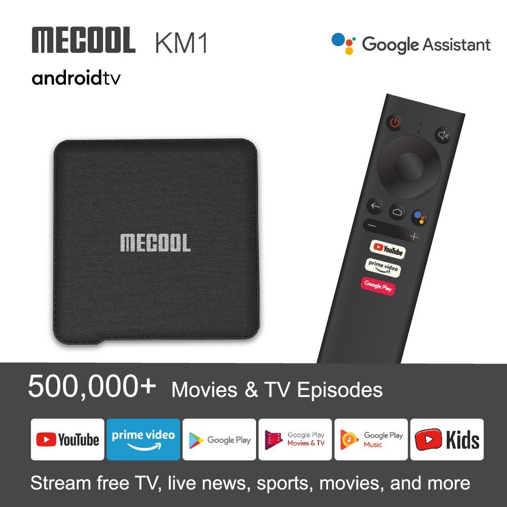 Mecool-صندوق التلفزيون الذكي KM1 ، android riod10 ، 4G 64G ، S905X3 ATV ، شبكة wi-fi مزدوجة ، 4K ، صوت ، معتمد من Google ، android ، Youtube