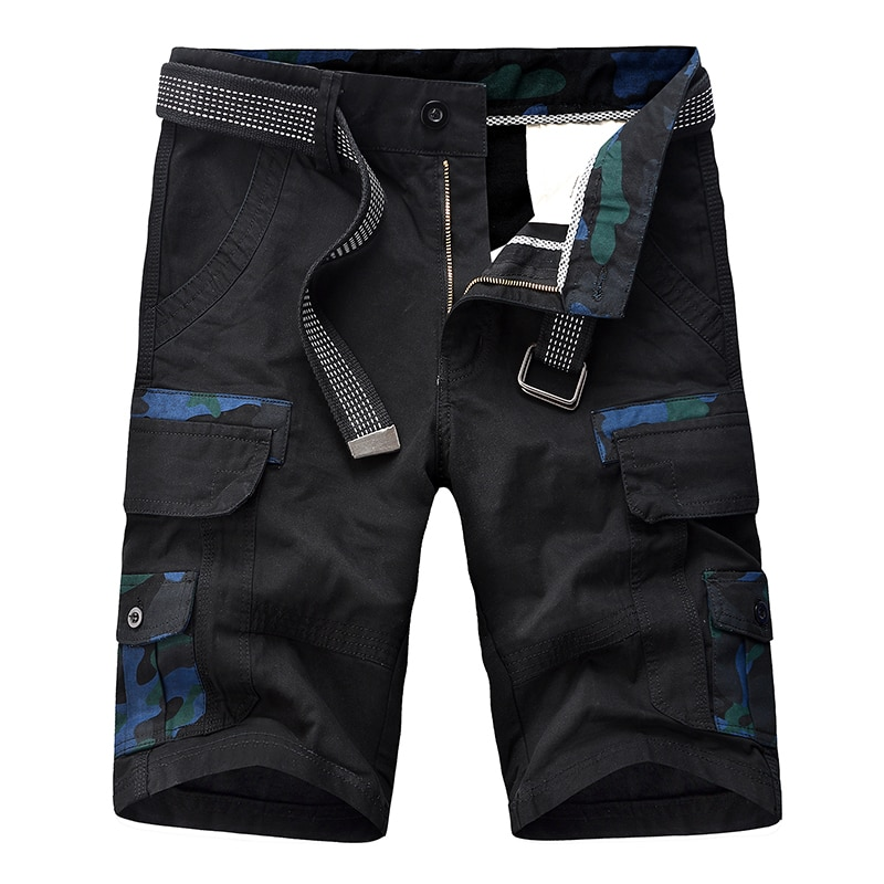 Men's Shorts Cargo Military Solid Casual Tactical Short Multi Pocket Fitness Loose Work Summer Male