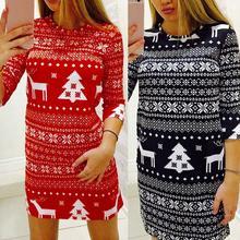 Christmas Fashion Women Elk Tree Print O Neck Half Sleeve Bodycon Party Holiday Decoration Dress