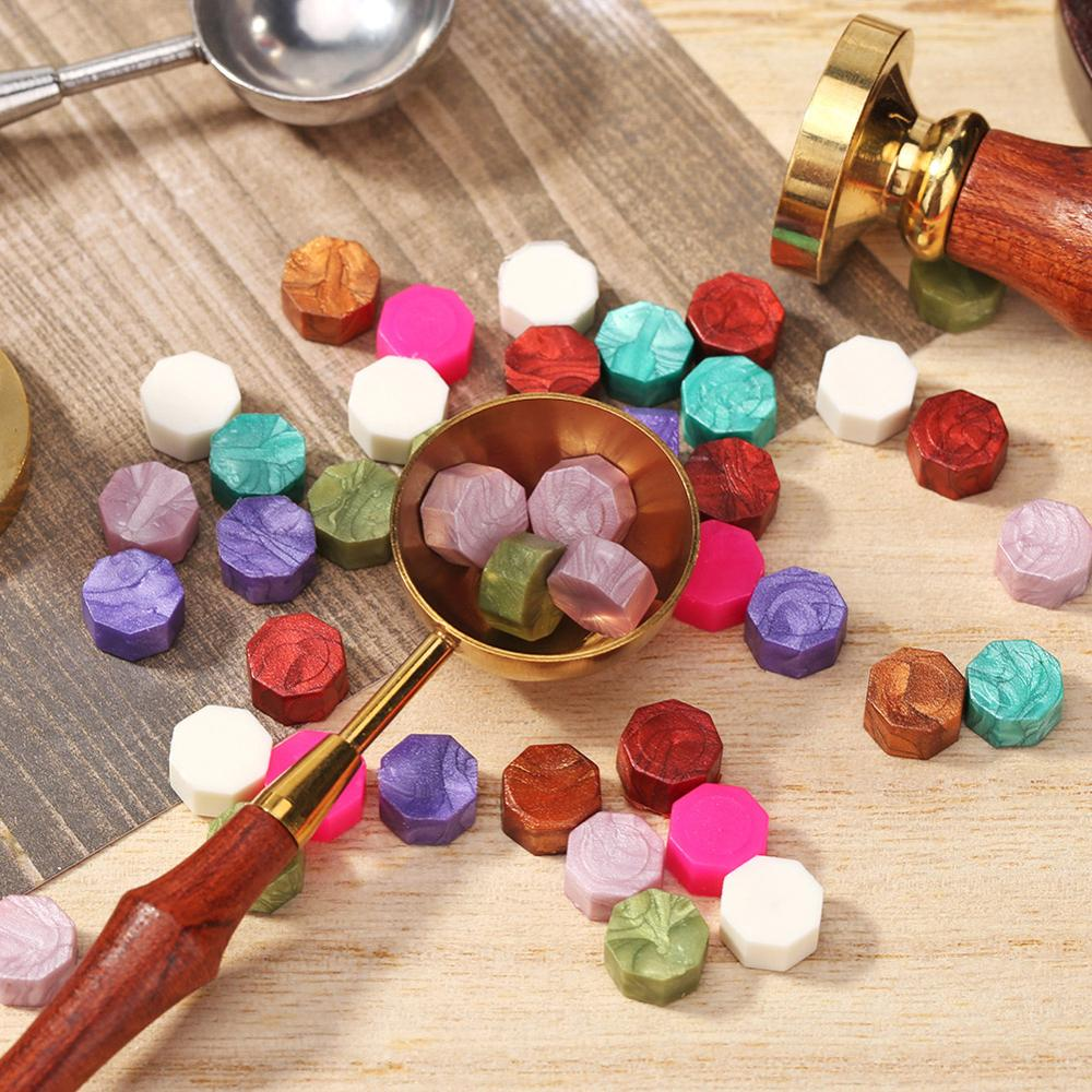 100Pcs Seal Stamp Wax Vintage Tablet Pill Beads for Envelope Wedding Ancient Sealing