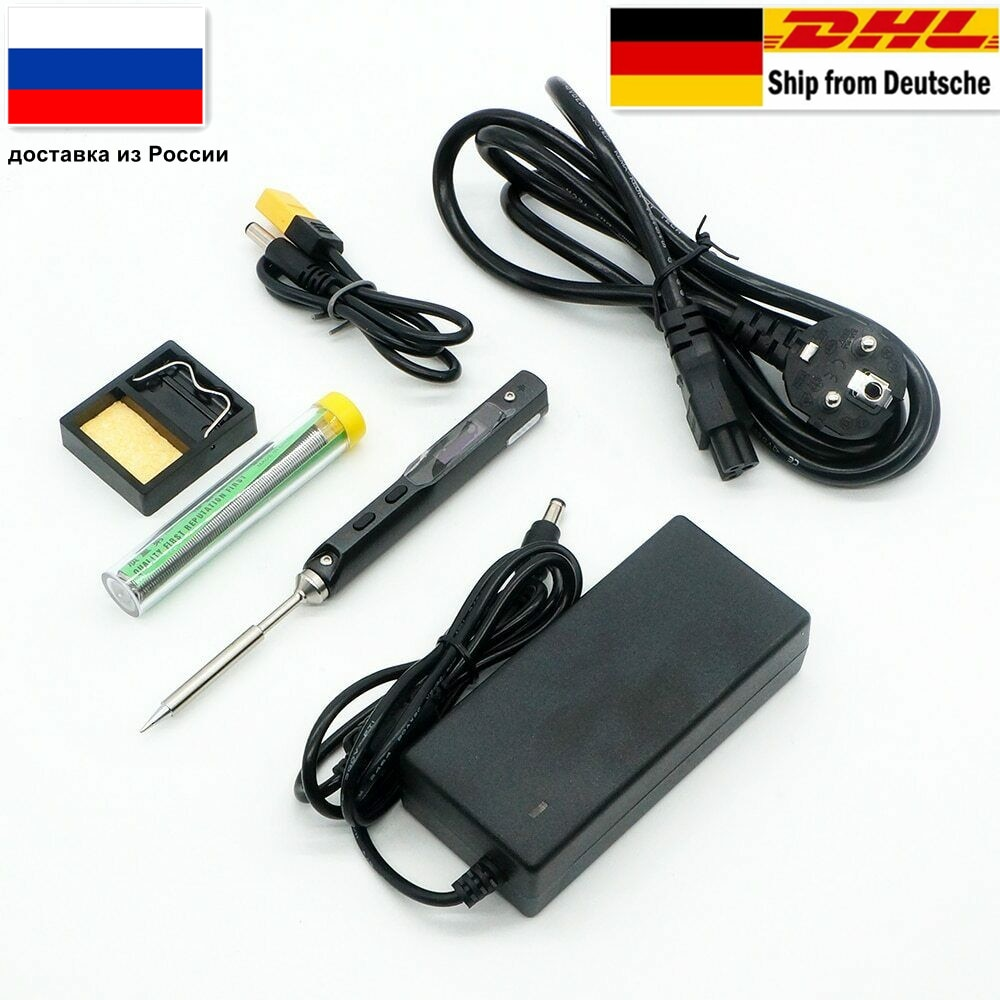 65 W-os mini digitális elektromos forrasztópáka LCD programozható kijelzővel és állítható hőmérsékletű 24V 3A tápegységgel