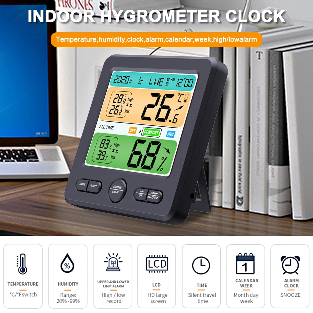 Digital Alarm Clock Indoor Hygrometer Thermometer with Large LCD Display Screen Temperature and Humidity Monitor new abs multi functions digital desk pen pencil holder display lcd alarm clock thermometer