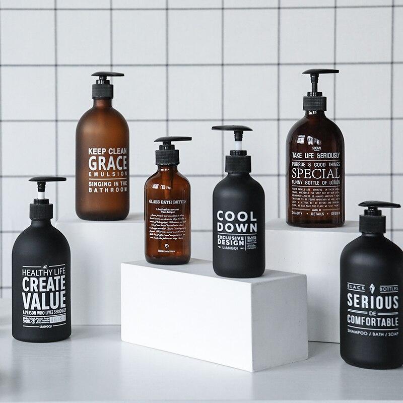 500ml Black Glass Bath Shampoo Storage Bottle Fat Scandinavian Liquid Lotion Travel Storage Bottle Organizer Home Decor