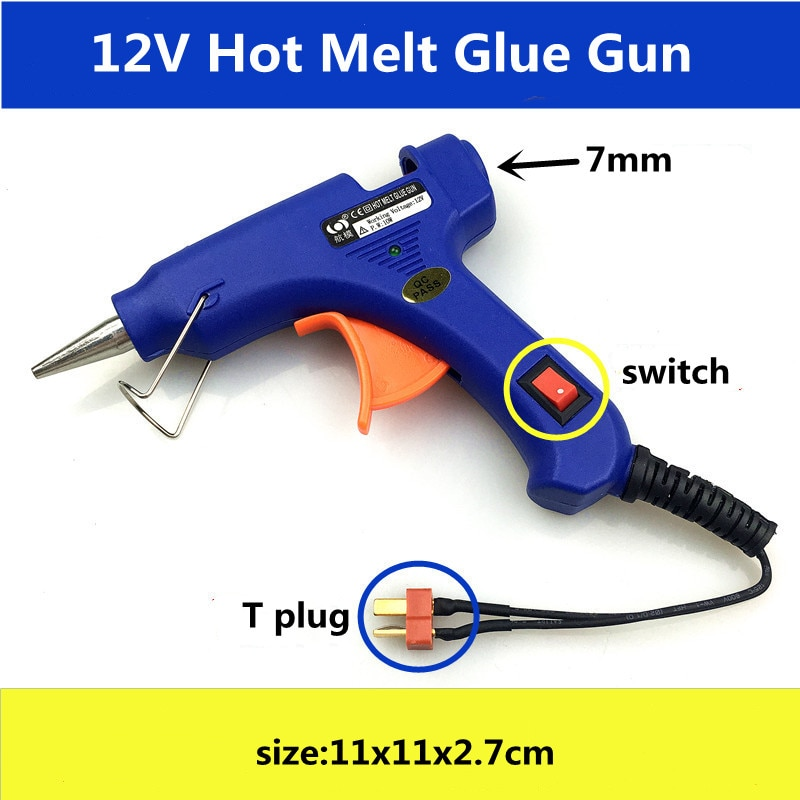 Hot Melt Glue Gun With T Plug For RC Models Outfield 3S 12V Heater Heating Wax 7mm Glue Stick DIY Hand Tools
