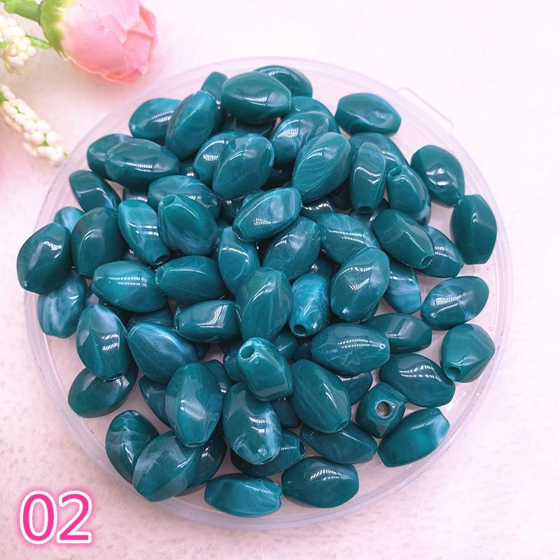 New 30pcs 13x8x7mm Imitation Stone Beads Oval Shape Acrylic Beads for Jewelry Making DIY #02