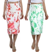 2021 new women slim fit skirt adults summer casual style tie dye print skirt red green