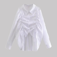 2021 Women Blouse Elegant Autumn New Fashionable Drawstring Design Loose White Cotton Shirt Japanese