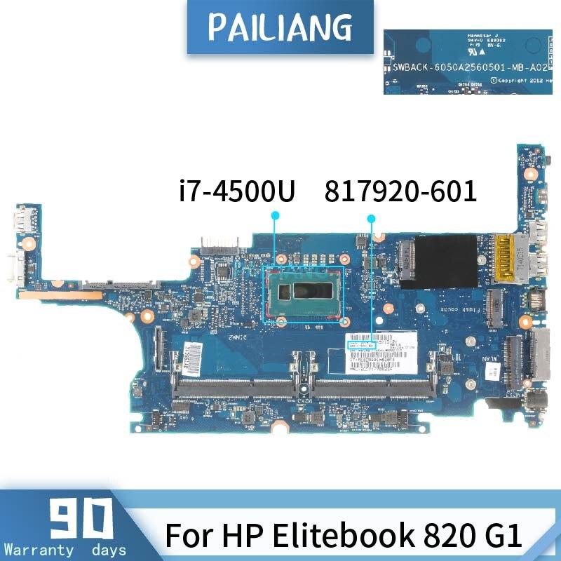 817920-501 ل HP Elitebook 820 G1 6050A2560501 817920-601 i7-4500U اللوحة الأم المحمول DDR3 اختبار OK
