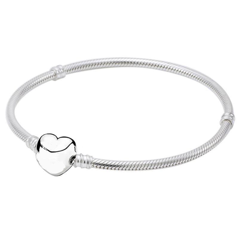Original Love Heart Clasp Snake Chain Bracelet Bangle Fit 925 Sterling Silver Bead Charm Bracelet DIY Europe Jewelry