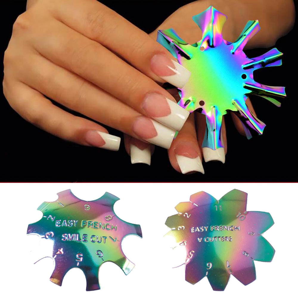 1pc Easy French Line Edge Nail Tool Smile V Cutter Stencil Trimmer Multi-size Manicure Art Styling Tr52