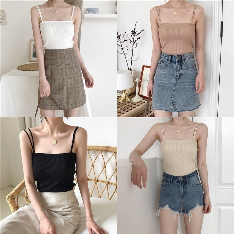 Camisole Womens Inner Western Style Summer New Fashion Trending Sexy Outerwear Sleeveless Top Black Knitted Vest