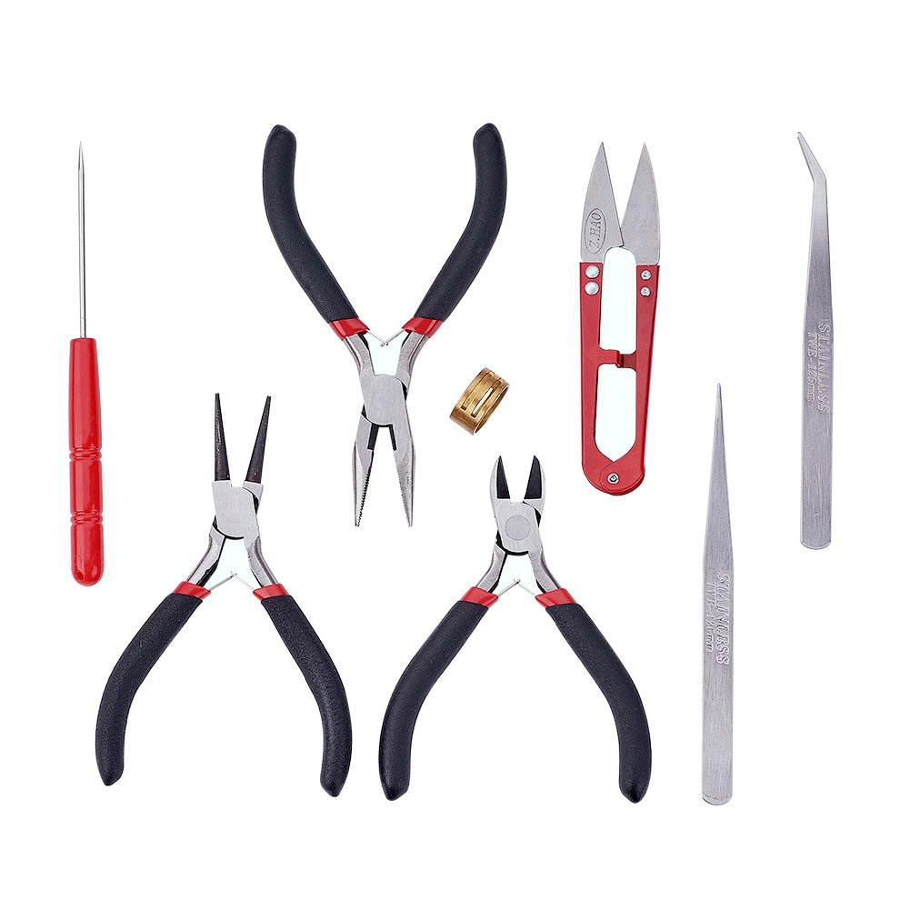 8pcs/set Jewelry Tools Kit Pliers Scissor Tweezers Rings Tool Round Nose Pliers For Jewelry DIY Making Accessories,155x110x35mm