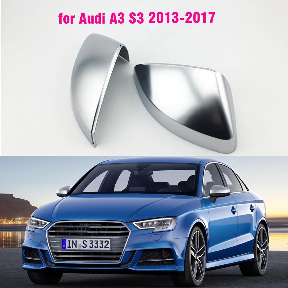 Cubierta de espejo de coche para Audi A3 S3 2013- 2017, cubierta protectora de espejo retrovisor plateado cromado mate, tapa de estilo de coche