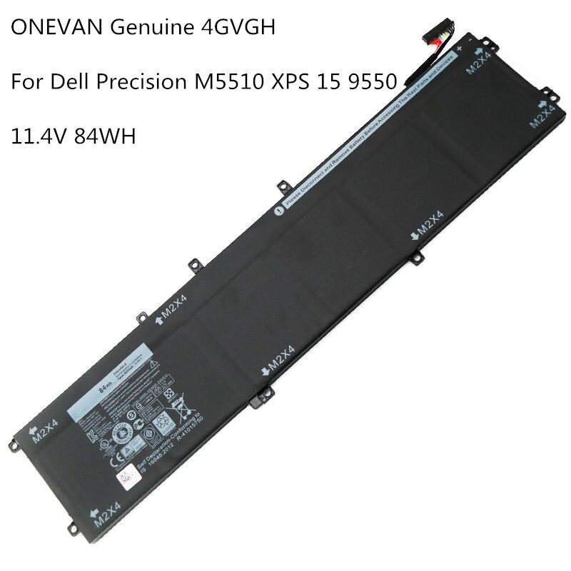 ONEVAN-بطارية كمبيوتر محمول أصلية ، 11.4 فولت ، 84 واط/ساعة ، 4GVGH ، لجهاز DELL الدقة 5510 XPS 15 9550 Series 1P6KD T453X M5510 P56F