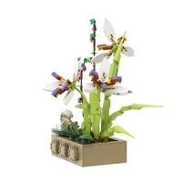 moc idea orchid potted plants blossom vase flower building blocks bricks model kit ornament family grass toy parentss gift