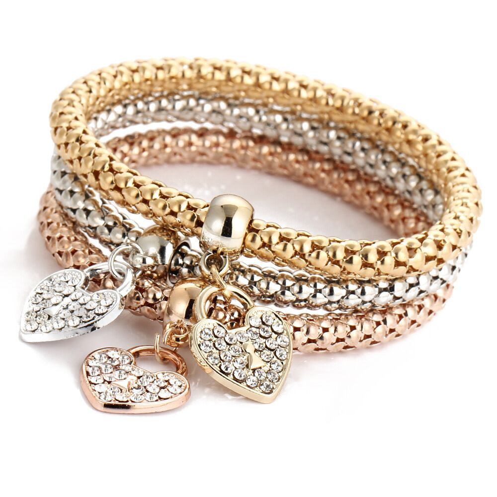 Brazalete para mujer, conjunto de pulsera con aleación de cristal y oro, corona, mariposa, corazón, joyería a la moda, pulsera para mujer