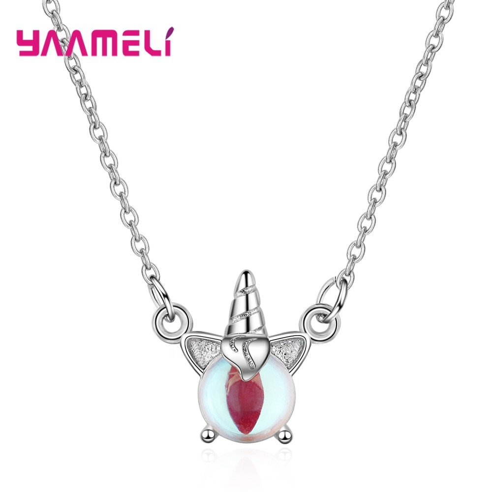 925 Sterling Silver Bijouterie Cute Unicorn Colorful Moonstone Pendants Necklaces For Women Trendy Short Clavicle Chain Jewelry