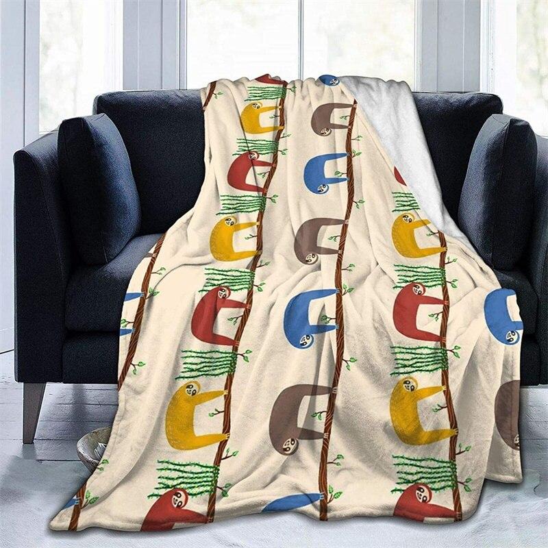 ملون لطيف سلوث لينة أفخم هدية الفانيلا صوف ليف دقيق المفرش شيربا 3d-print بطانية الأريكة غرفة نوم ديكور