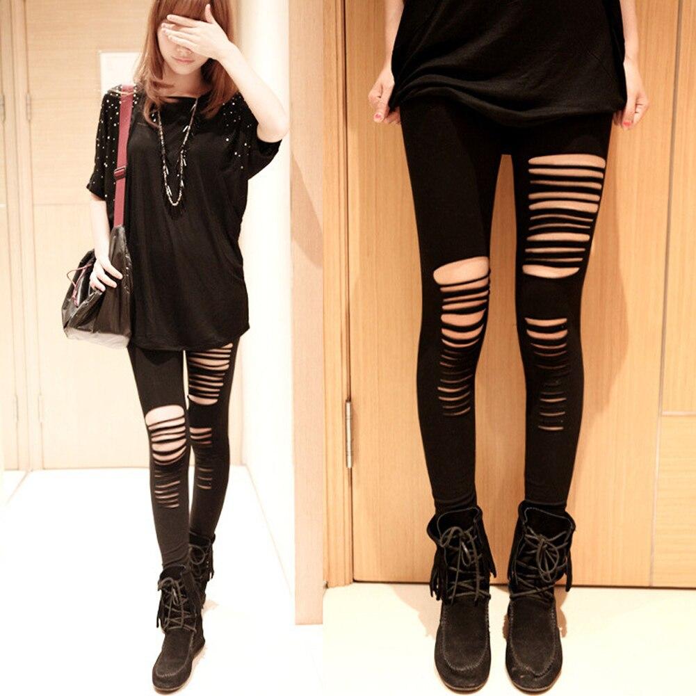 Nuevo vestido ajustado sensual para mujer Goth Punk cortado rasgado corte Corte elástico pantalones Leggings negro agujero Pantalones mujer Leggings
