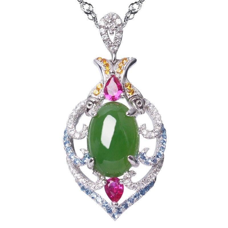 925 Hetian Jade mujeres berilo Natural pura plata Embeded Jade Fish collar