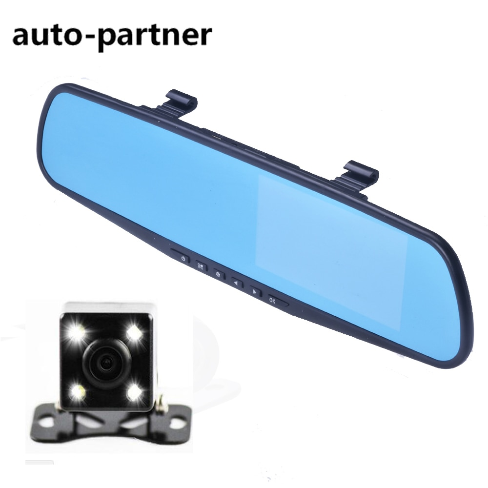 Dual Camera Car Dvr Camera Rearview Mirror Dash Cam G-Sensor HD 1080P 4.3'' 170 Degree night vision High Quality Free Shipping
