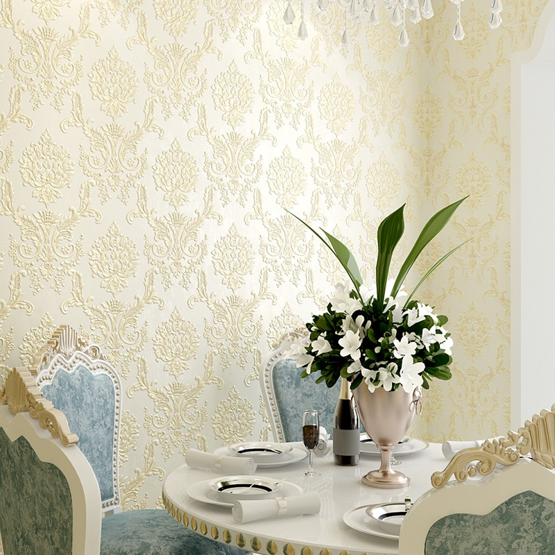 2020 New Classic European Damask Wallpaper 3d Self Adhesive Luxury Blue Damascus Wallpapers Living Room Bedroom Wall Papers J096