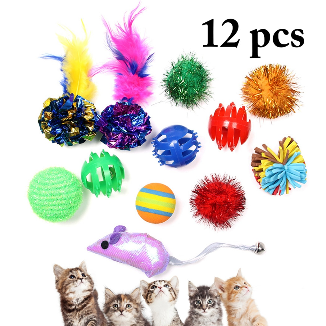 Juego de 12 Uds. De juguetes para gatos, surtido interactivo de juguetes para adiestramiento de gatos, pelota para mascotas, ratón, Gato de juguete, juguete divertido de plumas de colores para mascotas