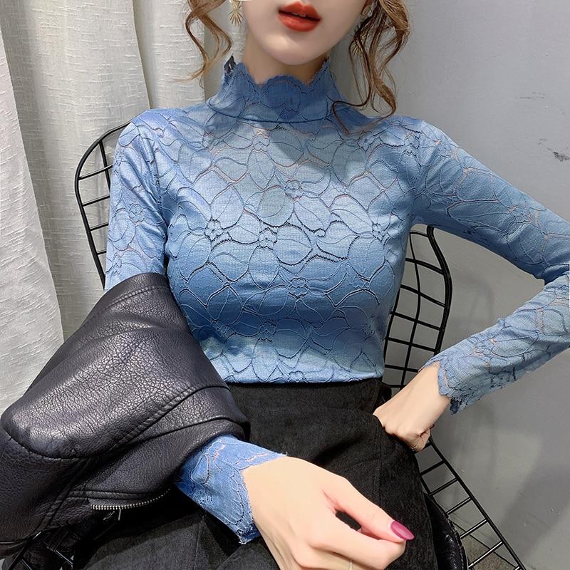 Blusas de encaje para chicas, camisetas, camisetas femeninas de cuello alto con huecos, camisetas elásticas elegantes de manga larga, blusas para mujeres