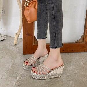 Sandals Women Summer Thick Heels New Fashion Rhinestone Wedges Heel Sandals Shoes