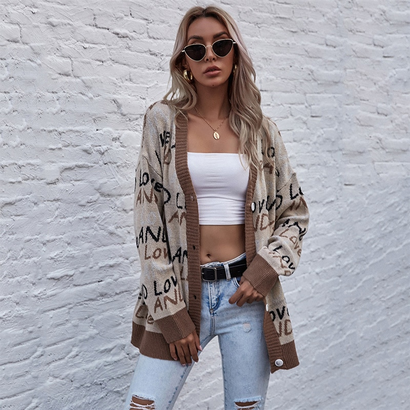 2021 autumn knitted letter street fashion tops long sleeve sweater coat female New dresses for women casual enlarge