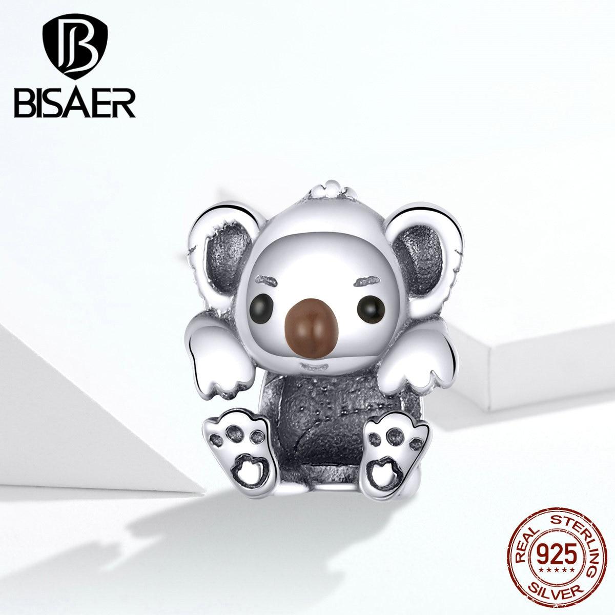 Colgantes de plata de ley 100% 925 con diseño de Animal serie KOALA para bebé, pulseras de dijes para mujer, joyería DIY GXC1304