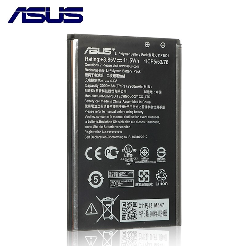 Оригинальная батарея для Asus Zenfone 2 Laser ZE601KL Selfie ZE550KL Z00LD Z011D ZD551K Z00UD C11P1501 3000 мАч полная емкость