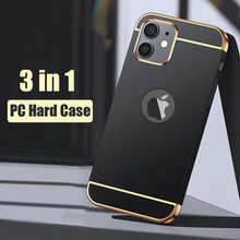 Luxury Plating 3 in 1 Phone Case For iPhone 7 8 Plus 6 6s PC Matte Hard Back Cover For iPhone 11 12 Pro Max 12 Mini X Xr Xs Case