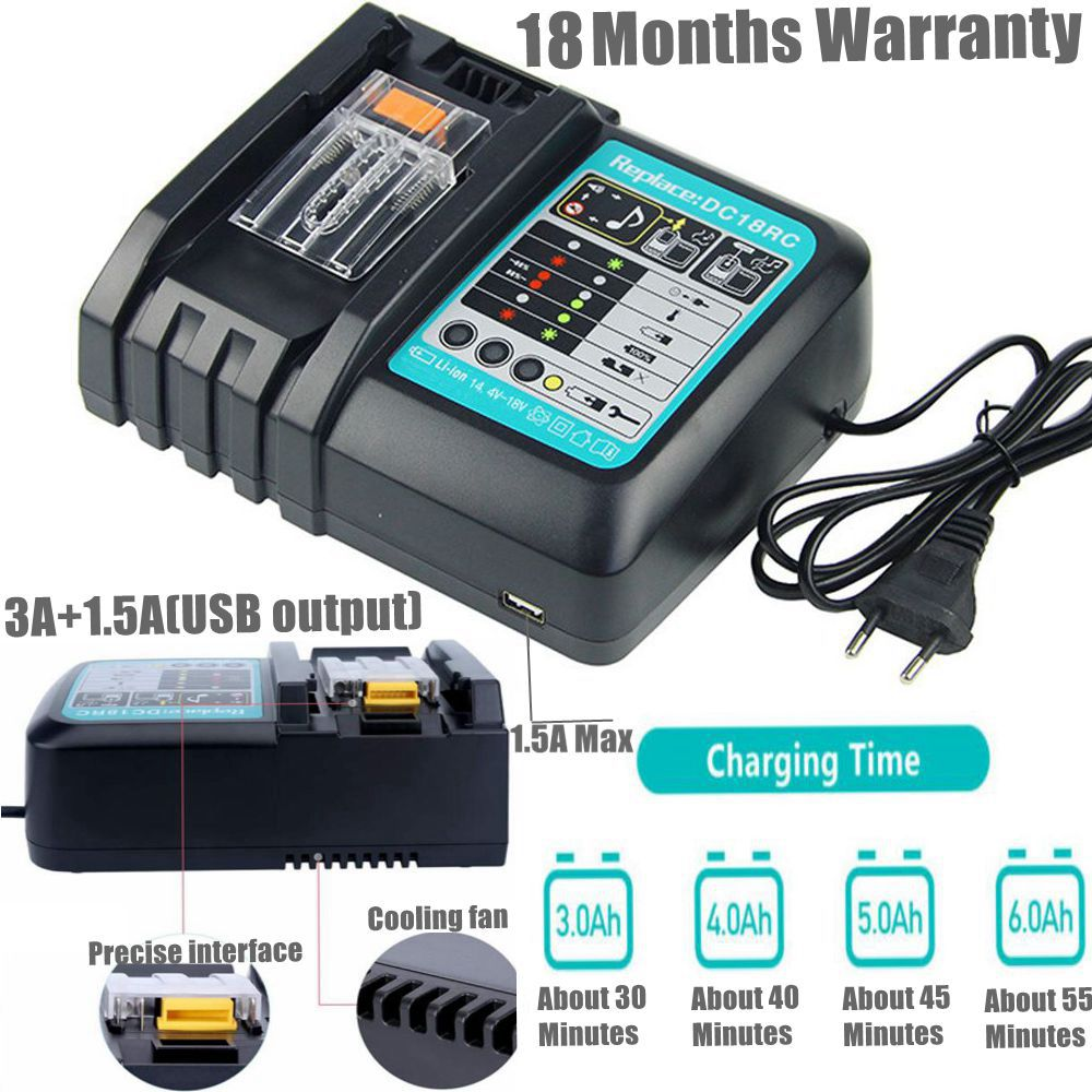 Зарядное устройство для литий-ионных батарей DC18RC, 3A с USB А для Makita 14,4 В 18 в BL1815 BL1830 Bl1430 BL1845 BL1860, замена электроинструмента