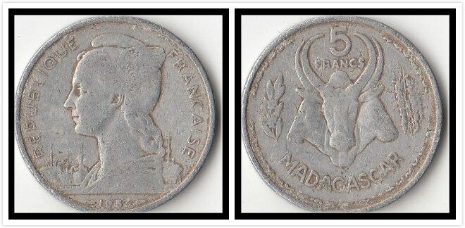 French Madagascar 5 Francs 1953 Edition Goddess Liberty Coins Africa Original Coin Collectible Edition Real Rare Commemorative